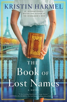 Book cover with a woman's body from shoulders to knee, wearing a white blouse and a blue skirt and holding a book in front of her